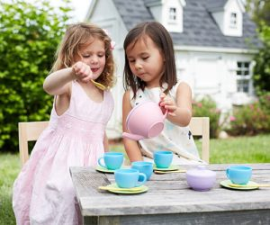 childrens tea set green toys
