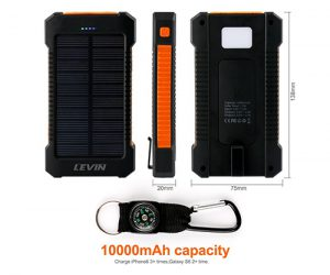 levin portable usb solar charger